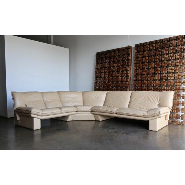 Nicoletti Salotti Modern Leather Sectional Sofa Circa 1985 For Sale - Image 10 of 13