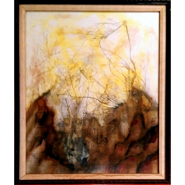 Mid Century Abstract Landscape Watercolor & Ink - Image 2 of 10