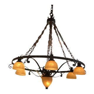 Forged Rusted Iron With 7 Alabaster Glass Shades Chandelier From a Church For Sale