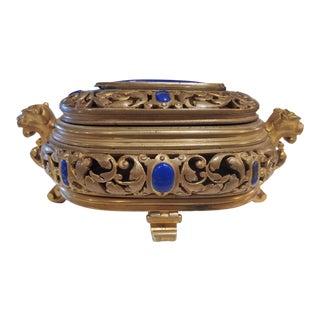 Antique Bronze Lapis Lazuli Desk Accessory For Sale