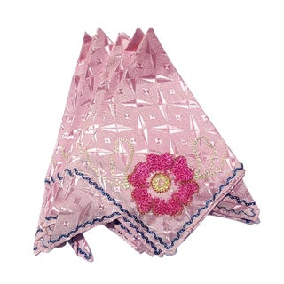 Silk Hand Stitched Pink Floral Dinner Napkins or Hankies - Set of 8 For Sale