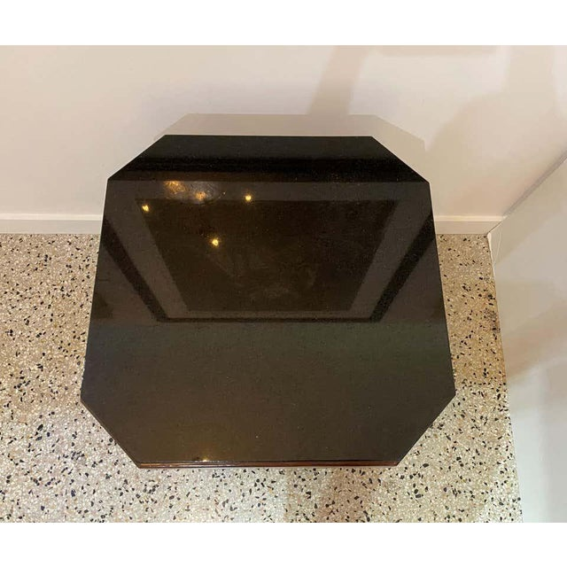 Brown American Art Deco Side Table With Polished Black Granite Top 1930s For Sale - Image 8 of 11