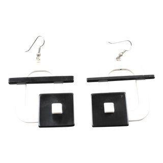 Italian Memphis Studio Style Oversized Geometric Lucite Pierced Earrings - Set of 2 For Sale