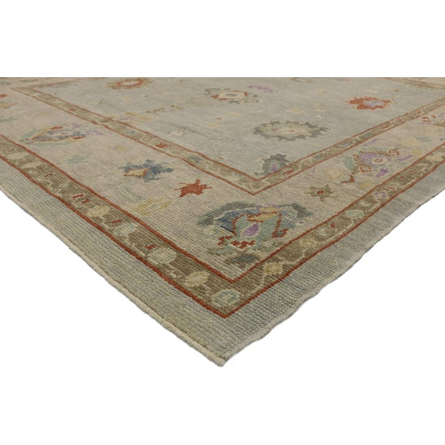 52525 New Contemporary Turkish Oushak rug with Transitional style. This hand knotted wool contemporary Turkish Oushak area...