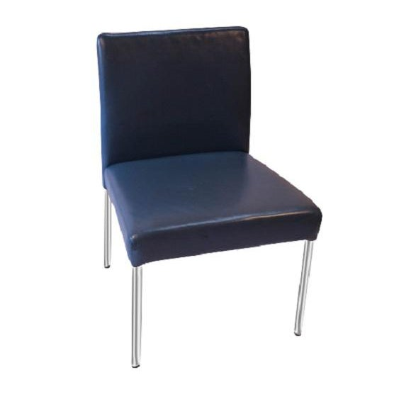 Brayton International Modern Blue Leather Side Dining Chairs - Set of 4 For Sale - Image 5 of 6