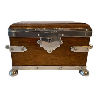 Late 19th Century Beautiful English Silver Plate & Solid Oak 2 Handled Tea Caddy For Sale