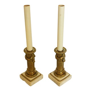 French Bronze & Marble Candlesticks - a Pair For Sale