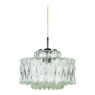 Midcentury Structured Glass Chandelier by Limburg, 1960s For Sale
