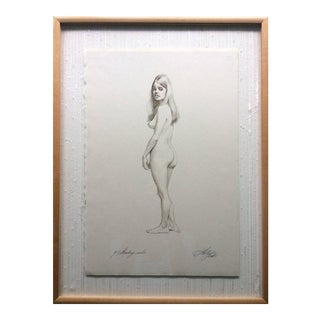 Original Pencil Drawing Standing Nude by Sheldon Shelly Fink American For Sale