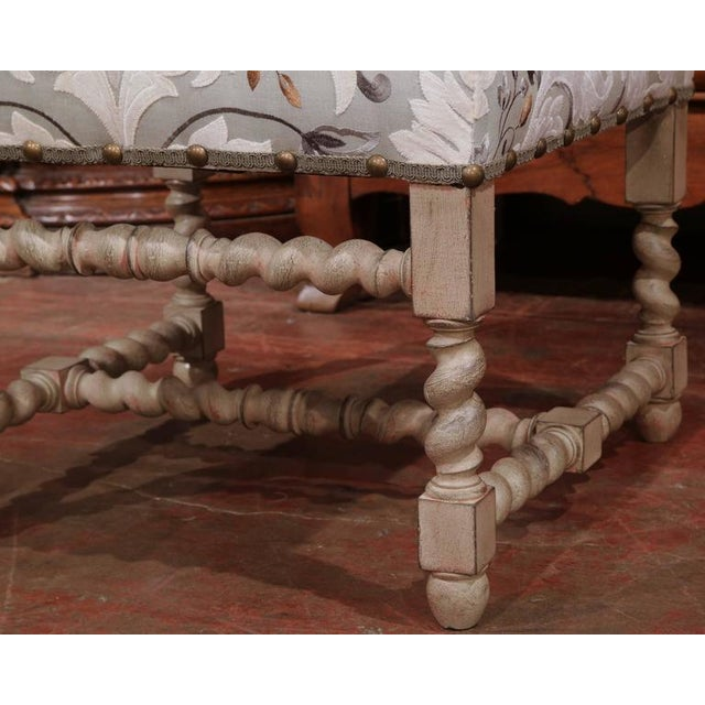 Early 20th Century French Carved & Upholstered Stool For Sale - Image 5 of 7