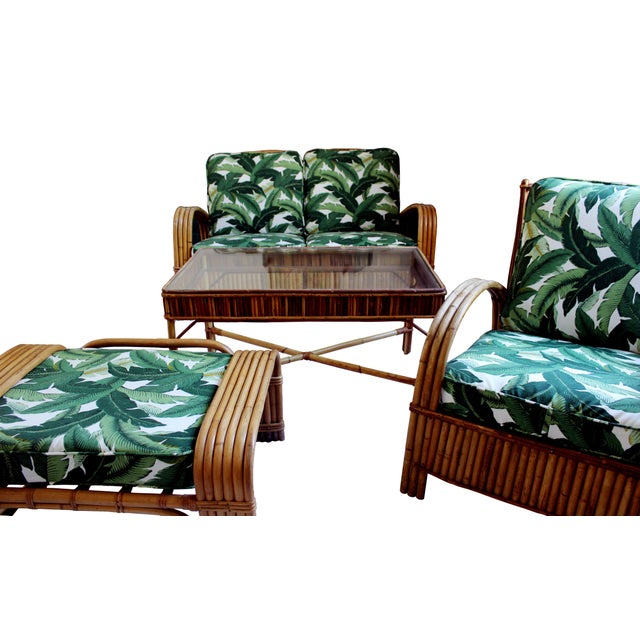 Hollywood Regency Rattan Lounge Chair For Sale In New York - Image 6 of 7
