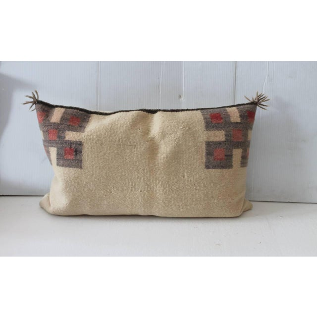 Fantastic Pair of Geometric Navajo Indian Weaving Saddle Blanket Pillows - Image 4 of 5