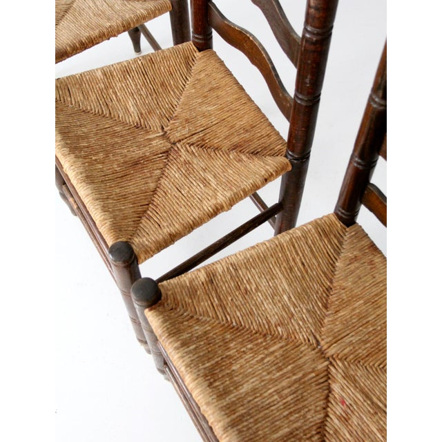 Antique Ladder Back Chairs with Rush Seats - Set of 4 - Image 7 of 10 - Antique Ladder Back Chairs With Rush Seats - Set Of 4 Chairish