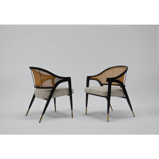 Caned back occasional chairs by Edward Wormley for Dunbar For Sale - Image 11 of 11