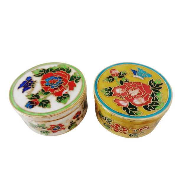 Vintage Cloisonne Enamel Boxes Floral - S/2 - Image 1 of 8