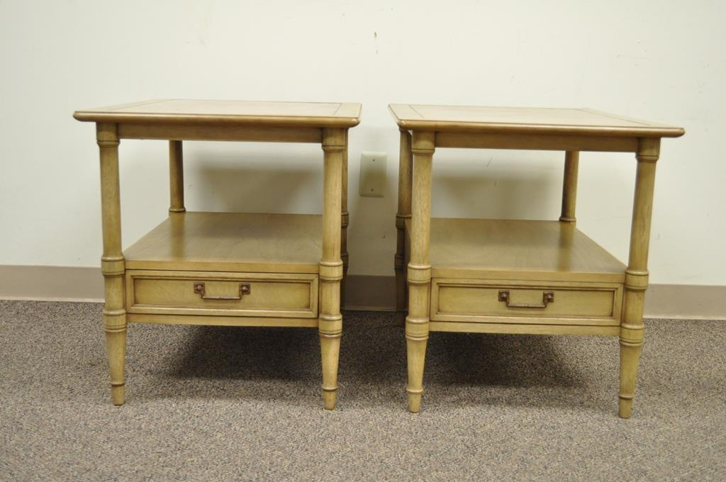Pair Of Vintage Drexel Hollywood Regency Leather Top Solid Wood Side End  Tables   Image 3