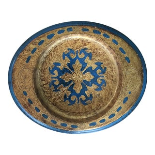 Made in Italy Florentine Small Tray Wooden Dish For Sale