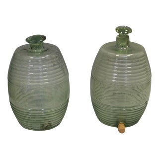 Ribbed Glass French Barrel Jars, a Pair For Sale