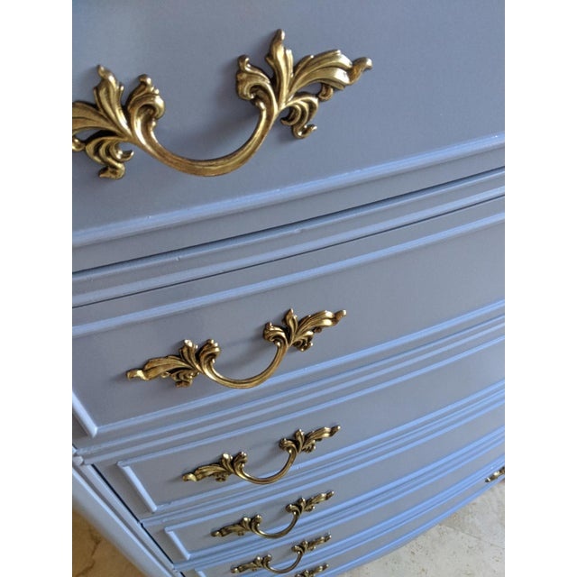 1950s 1950s French Provincial Dixie Light Blue Gloss Highboy For Sale - Image 5 of 11