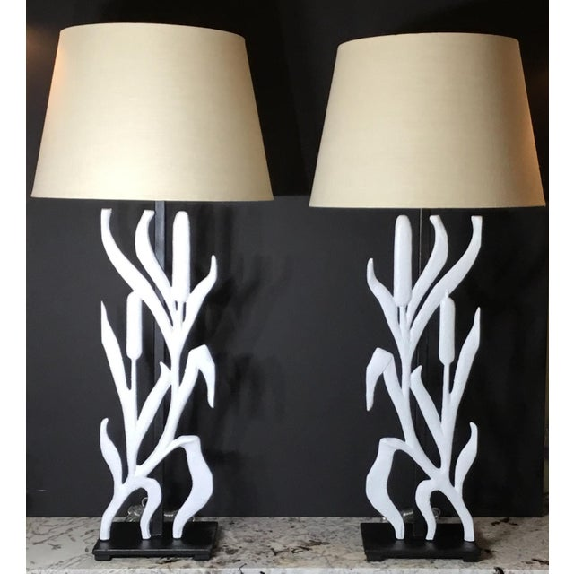 2010s Abstract Cattail Iron Table Lamps - a Pair For Sale - Image 5 of 12