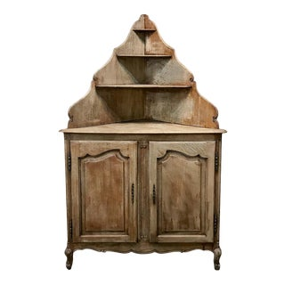 Antique Country French Stripped Corner Cabinet For Sale