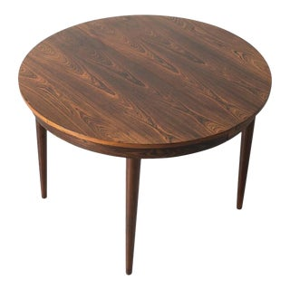 Round Hans Olsen Rosewood Dining Table with Extension Leaf For Sale