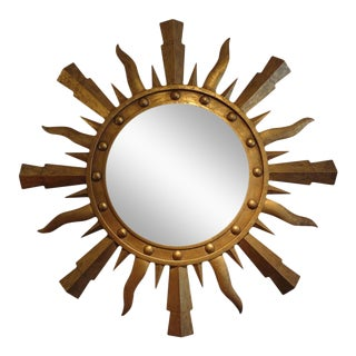 Large Mid-Century Italian Gilt Iron Sunburst Mirror For Sale
