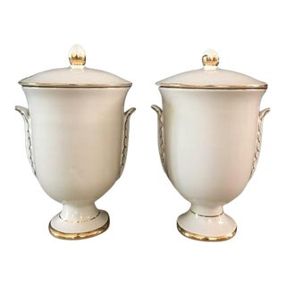 Vintage Italian Pedestal Jars / Cannisters With Gold Leaf Trim - a Pair For Sale
