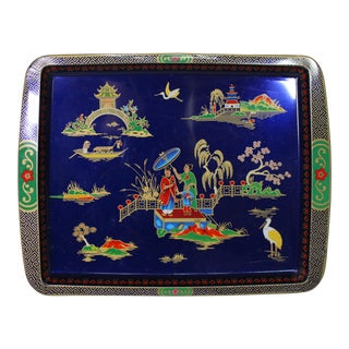 1960's Royal Blue English Daher Chinoiserie Tin Pictorial Tray For Sale