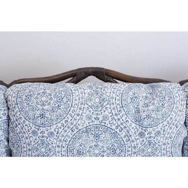 Contemporary McGuire Blue and White Upholstered Bamboo Rattan Sofa For Sale - Image 3 of 12