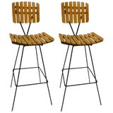 Image of Pair of Umanoff Slatted Wood and Iron Stools For Sale