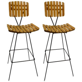 Pair of Umanoff Slatted Wood and Iron Stools For Sale