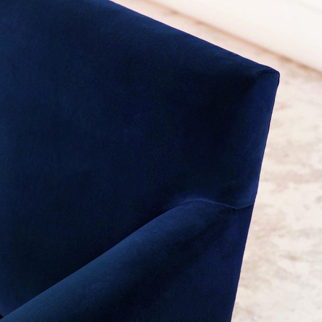 Abstract Italian Style Mid-Century Occasional Chairs in Plush Indigo Velvet- a Pair For Sale - Image 3 of 5