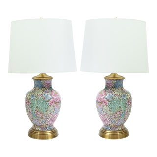 French Gilt Base Cloisonné Enamel Table Lamps - a Pair For Sale