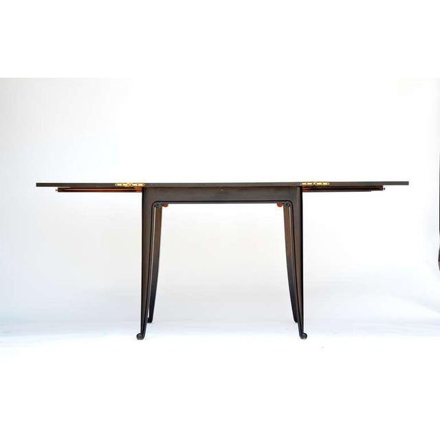 Chic Ebonized French 1940s Folding Center or Dining Table For Sale In Los Angeles - Image 6 of 10