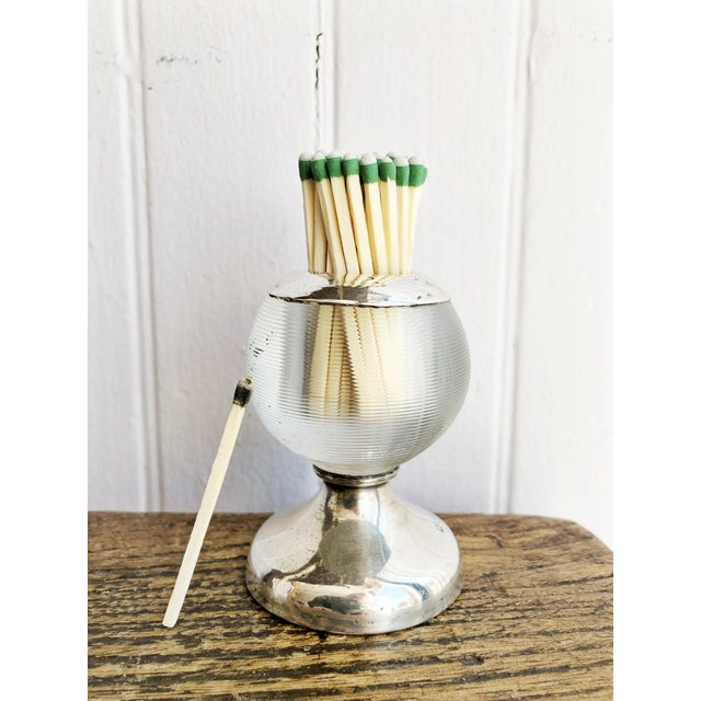 Art Deco English Sterling Silver and Glass Match Striker For Sale - Image 3 of 7
