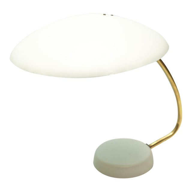Bauhaus White and Brass Table Lamp For Sale