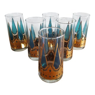 Starlyte Teal & Gold Drinking Glasses - Set of 6