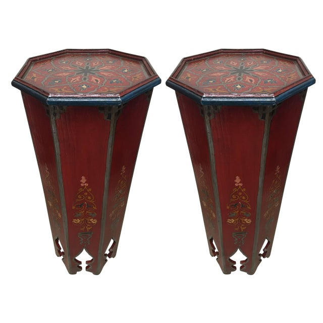 Pair of Hand-Painted Moroccan Pedestal Octagonal Shape Table With Moorish Arches For Sale - Image 13 of 13