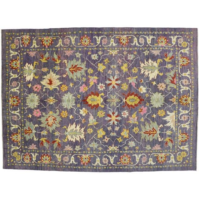 "Colorful Contemporary Turkish Oushak Rug - 11'4"" X 15'6"" For Sale In Dallas - Image 6 of 10"