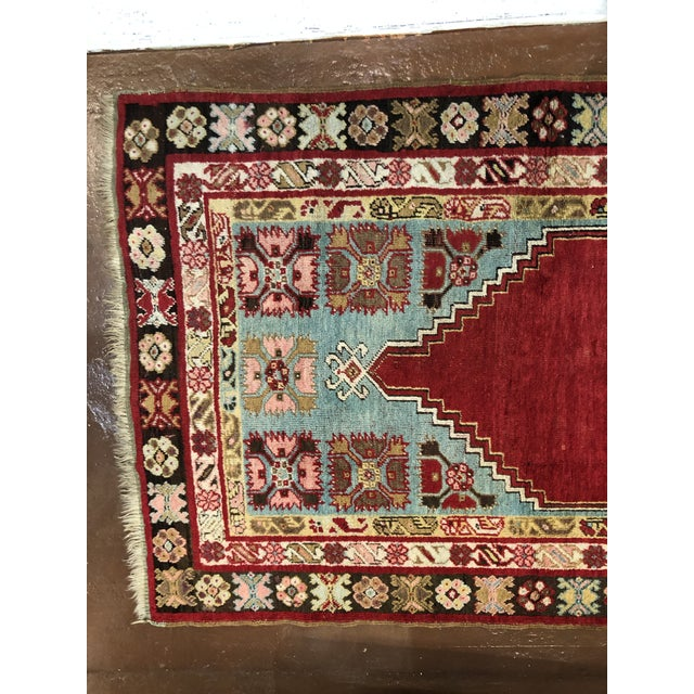 Islamic Antique Turkish Wool Rug For Sale - Image 3 of 4