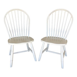 """New Country"" Ethan Allen Hoop Back Cirrus White Side Chairs- a Pair For Sale"