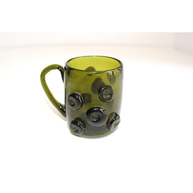 Green Set / 6 Mid Century Modern Glass Espresso Cups With Prunt Details For Sale - Image 8 of 13