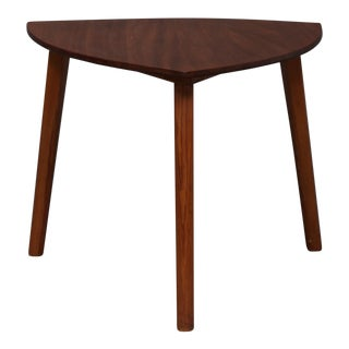 1950s Danish Modern Mahogany Guitar Pick Side Table For Sale
