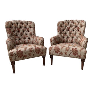 Mid 20th Century Traditional Tufted High Back Floral Chairs - a Pair For Sale