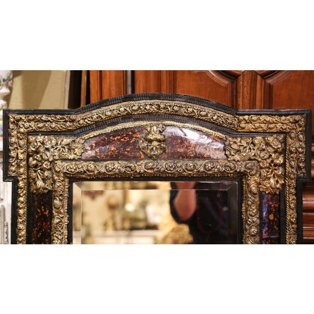 Late 19th Century 19th Century French Napoleon III Repousse Brass and Ebony Overlay Wall Mirror For Sale - Image 5 of 11