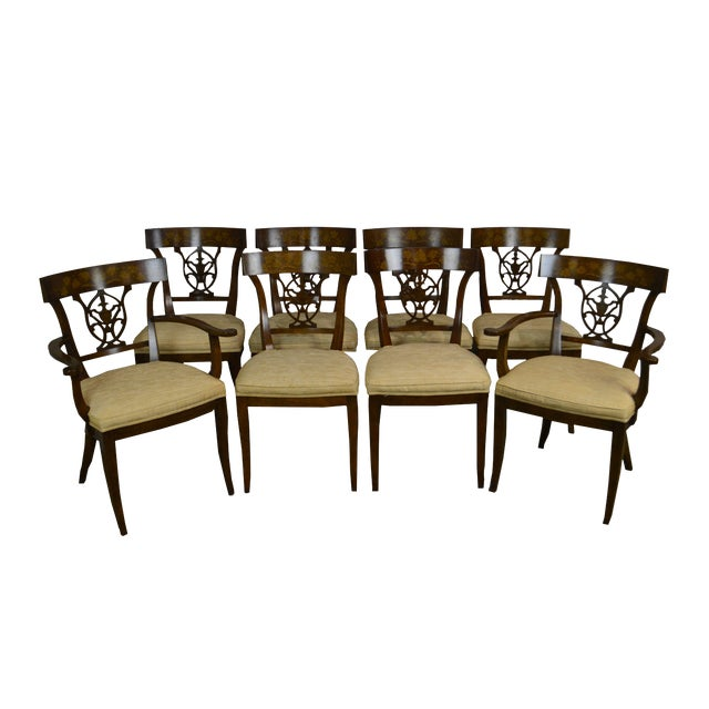 Nahon Custom Quality Set of 8 Regency Style Mahogany Dining Chairs For Sale