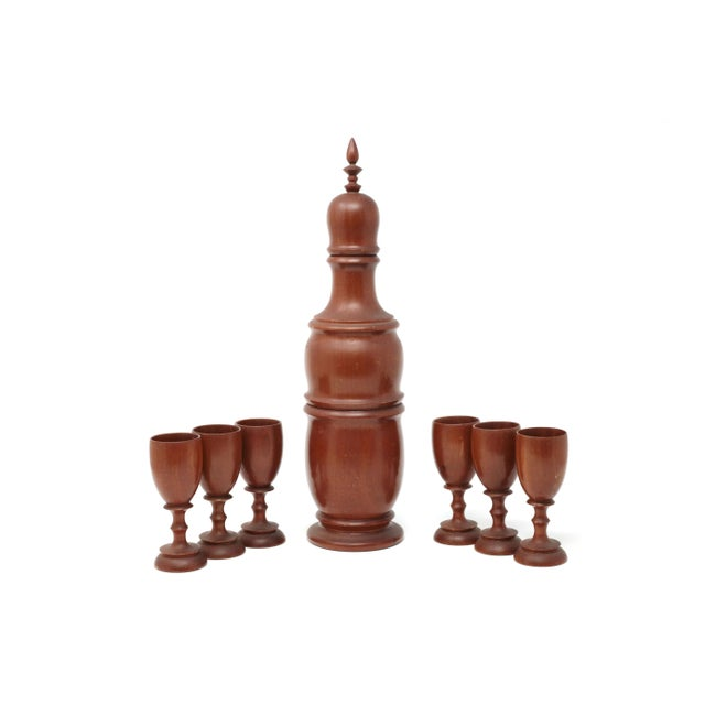 Vintage Mid-Century Modern Wood Decanter and Cups - Set of 7 For Sale - Image 4 of 11