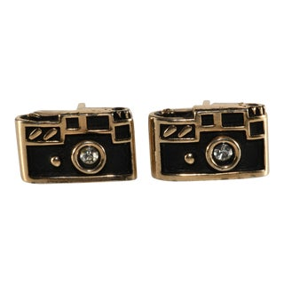 Swank Cufflinks Cameras Black and Gold Plated Cuff Links For Sale