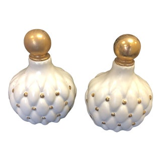 1940's Vintage Hand-Painted White & Gold Pillowed Decanters - a Pair For Sale